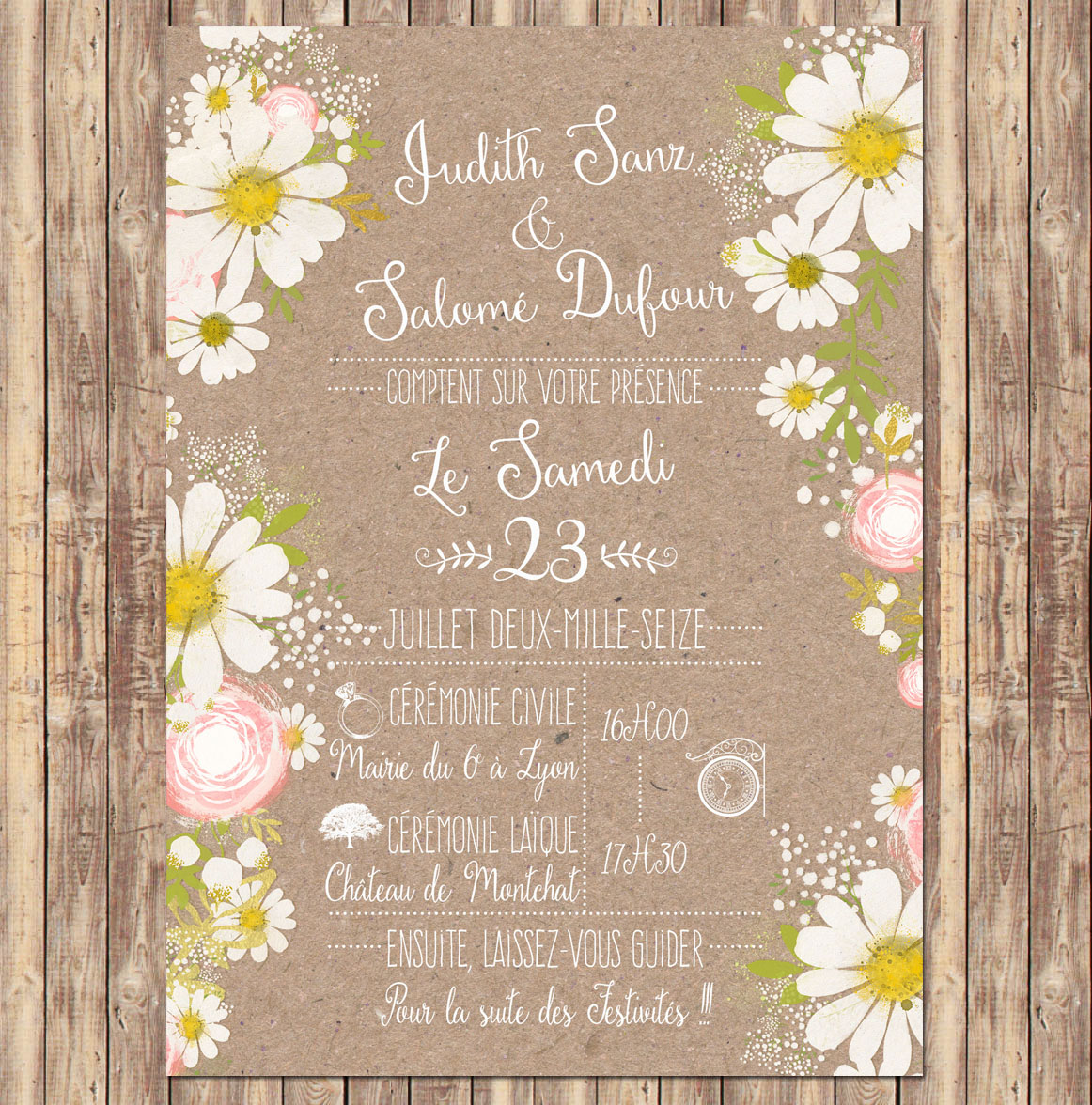 invitation mariage fleurs avec d clinaisons selon th me. Black Bedroom Furniture Sets. Home Design Ideas