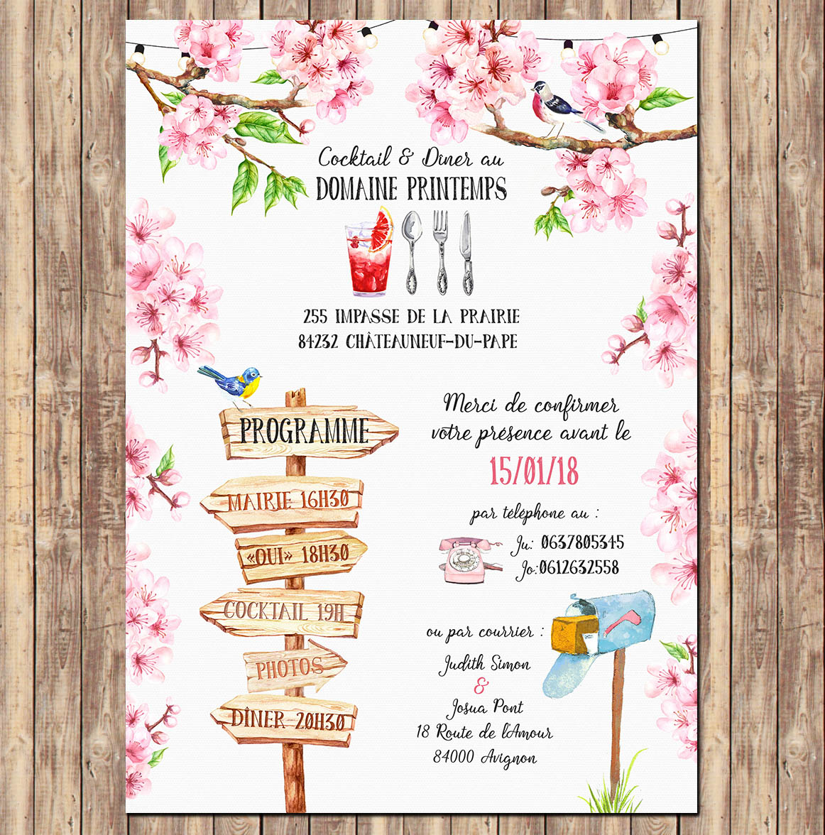 faire part mariage invitation fleurs de cerisier aquarelle pastel romantique. Black Bedroom Furniture Sets. Home Design Ideas