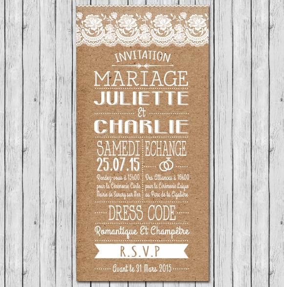 Faire part mariage rustique et chic avec dentelle - Faire part champetre chic ...