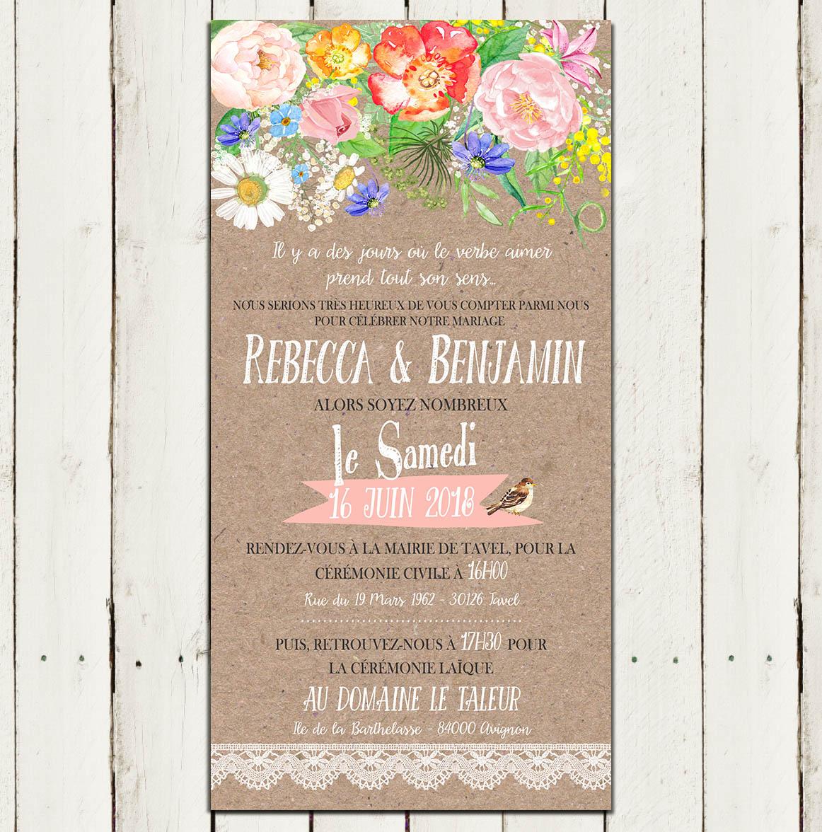 faire part mariage kraft fleurs pastel aquarelle. Black Bedroom Furniture Sets. Home Design Ideas