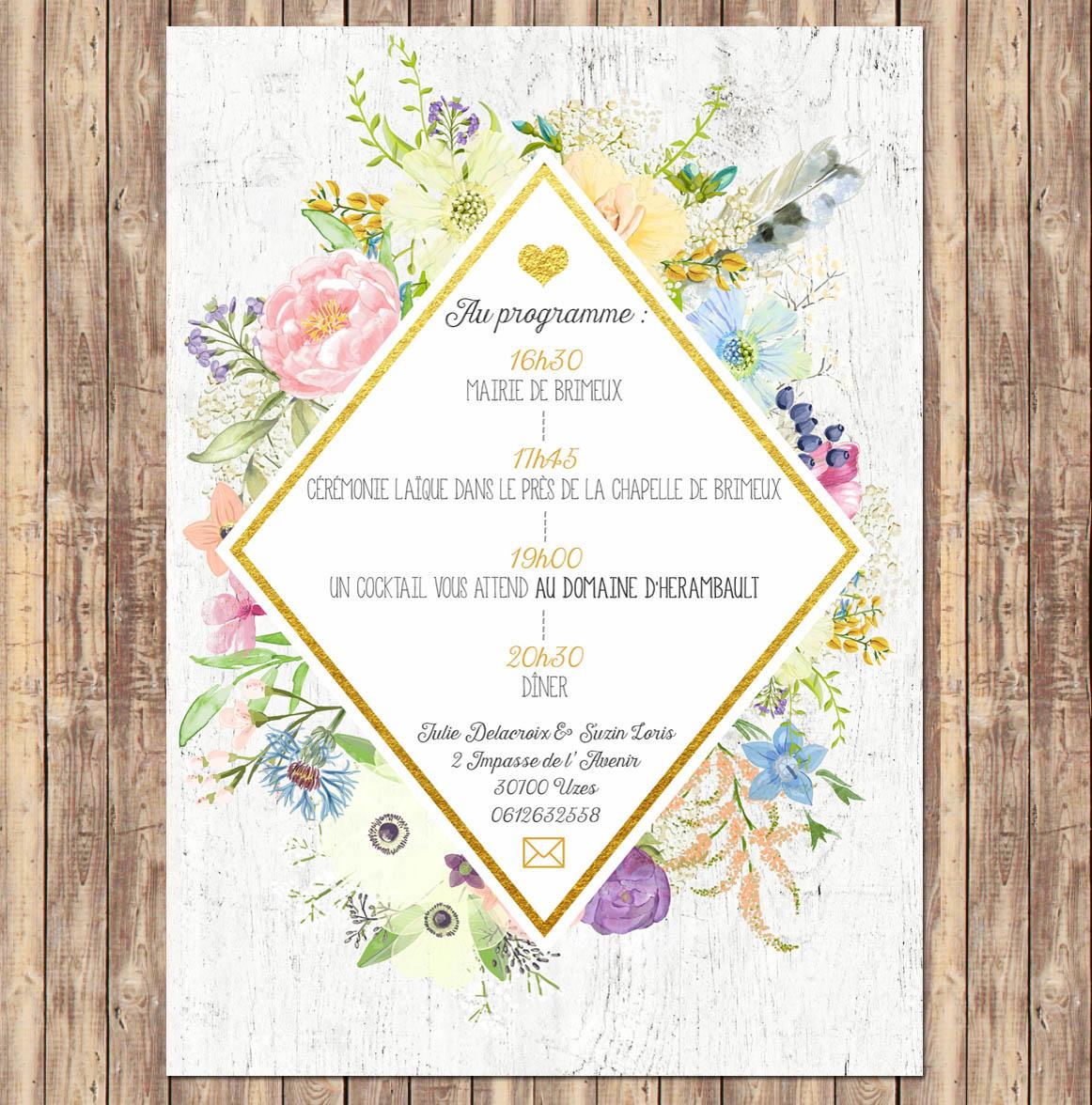 cr ation de faire part mariage aquarelle avec fleurs aux couleurs douce. Black Bedroom Furniture Sets. Home Design Ideas