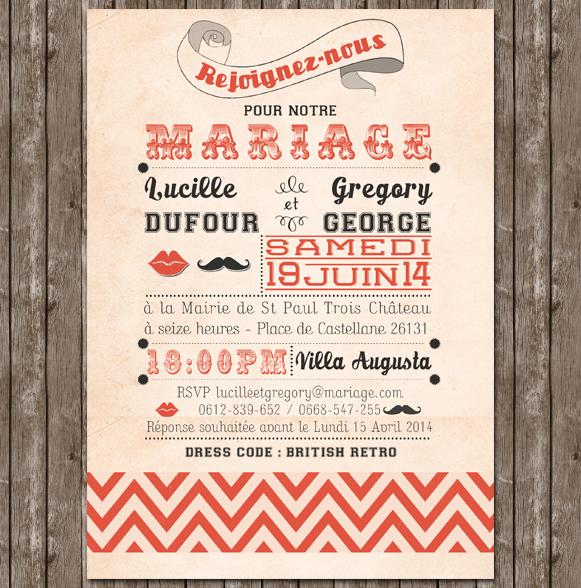 Cr ation de faire part de mariage british personnaliser - Idee menu invitation amis ...