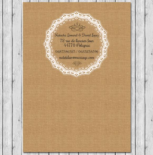 cr ation de faire part de mariage avec dentelle sur fond toile de jute personnaliser. Black Bedroom Furniture Sets. Home Design Ideas