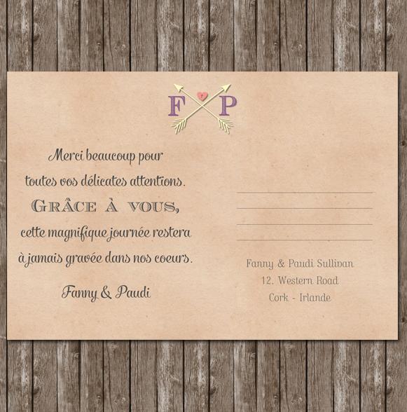 Faire part mariage carte postale vintage
