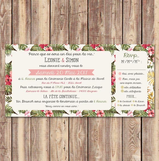 invitation mariage tropicale feuilles plage