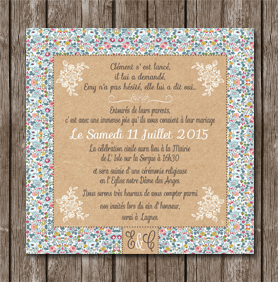 invitation mariage carte liberty vintage