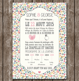 faire part mariage liberty doux romantique motif fleurs - Faire Part Mariage Guinguette