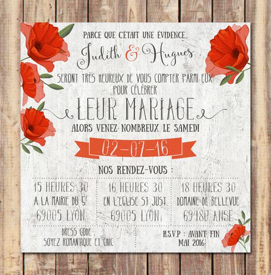 faire,part mariage rouge coquelicots romantique vintage