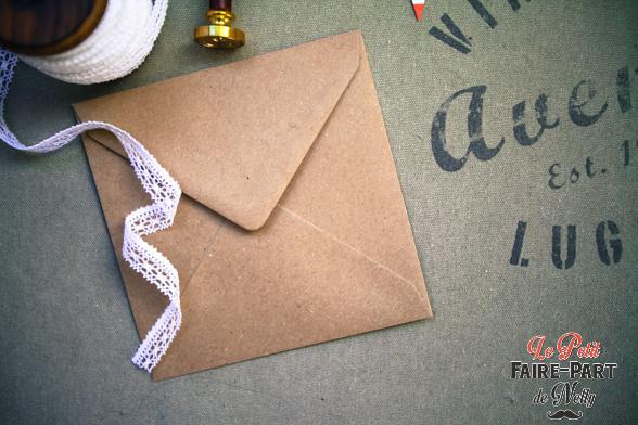 enveloppes kraft gomm pour invitation mariage vintage. Black Bedroom Furniture Sets. Home Design Ideas